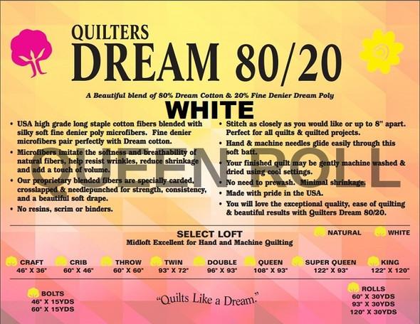 "Dream - 80/20 White - Queen Roll - 93"" x 30yds"