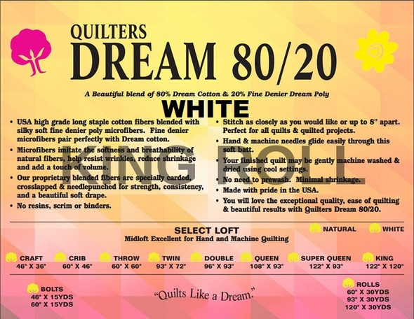 """Dream - 80/20 White - King Roll - 120"""" x 30yds"""