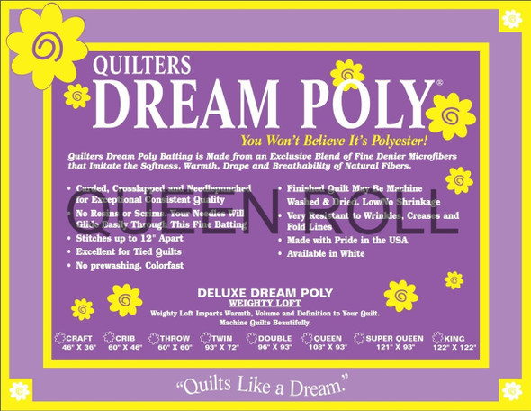 "Dream Poly - Queen Roll (Deluxe Wt.) - 93"" x 30yds"