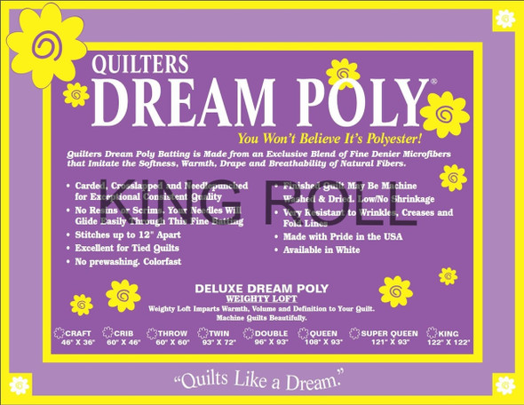 "Dream Poly - King Roll (Deluxe Wt.) - 120"" x 25yds"