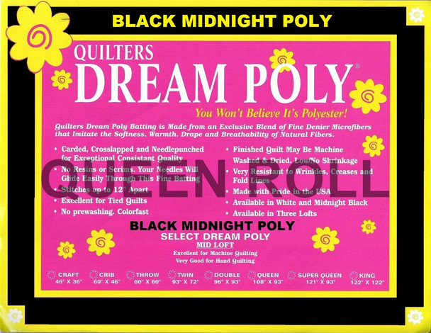 "Dream Poly Black - Queen Roll (Select Wt.) - 93"" x 30yds"
