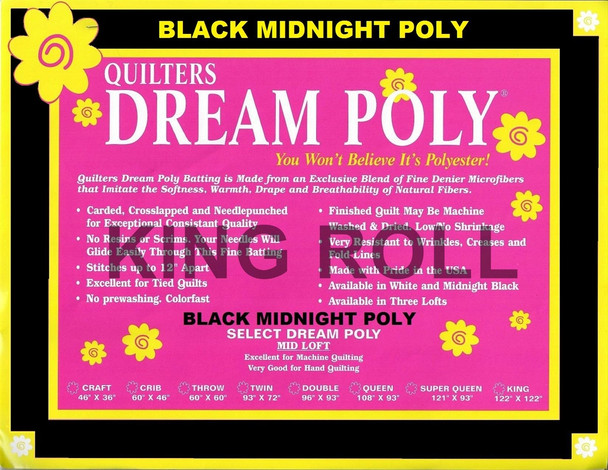 """Dream Poly Black - King Roll (Select Wt.) - 120"""" x 25yds"""
