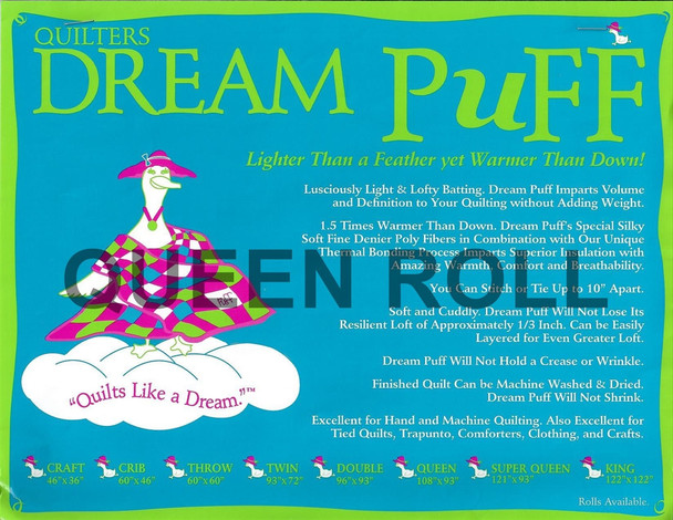 """Dream Puff - Queen Roll - 93"""" x 25yds"""