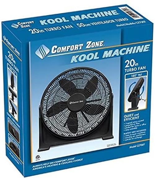 "Comfort Zone 20"" 3-Speed High Velocity Fan w/Adjustable Tilt & Sturdy Base"
