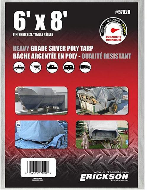 Erickson Mfg. 6' X 8' Heavy Duty Silver Tarp