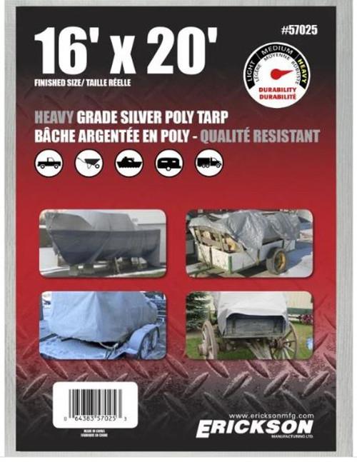 Erickson Mfg. 16' X 20' Heavy Duty Silver Tarp