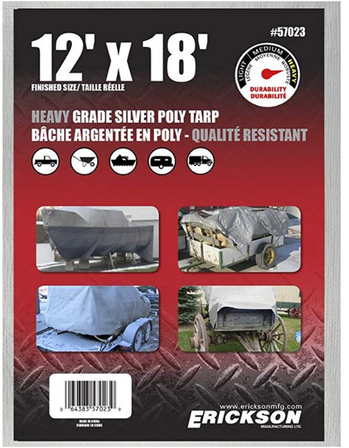 Erickson Mfg. 12' X 18' Heavy Duty Silver Tarp