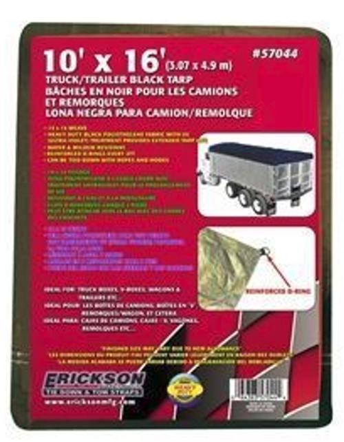Erickson Mfg. 10' x 16' Industrial Fitted Black Tarp