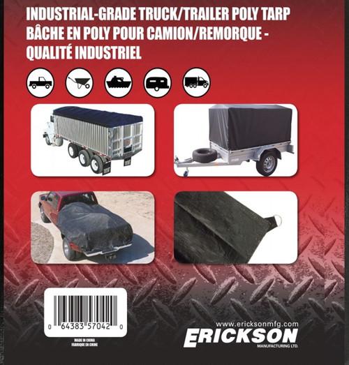 Erickson Mfg. 8' x 10' Industrial Fitted Black Tarp