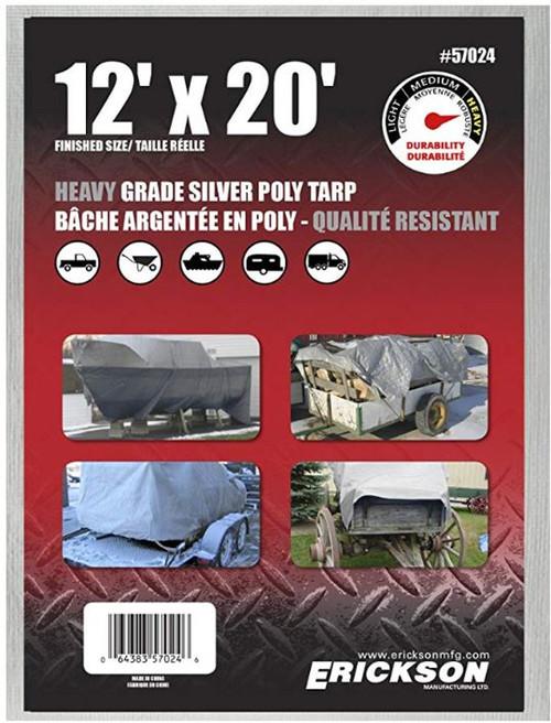 Erickson Mfg. 12' X 20' Heavy Duty Silver Tarp