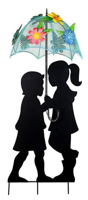 Alpine Solar Girl & Boy Silhouette With Unbrella