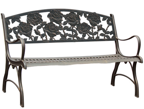 Painted Sky Rose Cast Iron Bench