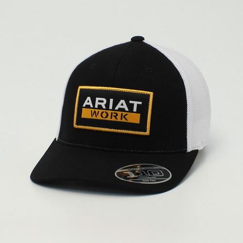 Ariat Mens FlexFit 110 Black w/White Mesh Ball Cap