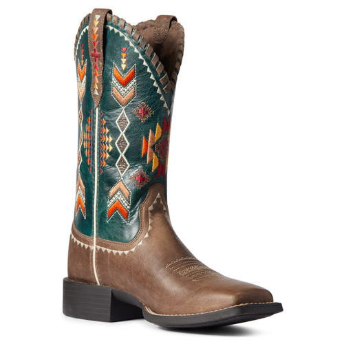 Ariat Womens Performance Teal Round Up Skyler Square Toe Boots