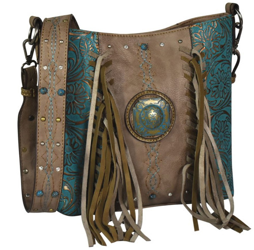 Justin Turquoise Floral Tooled Fringe Crossbody Bag