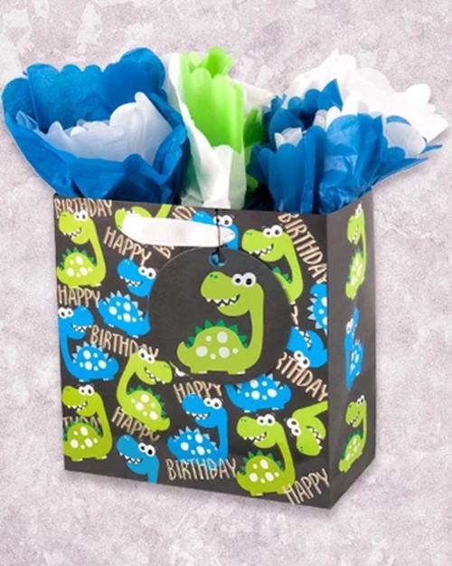 Happy Birthday Dino's Day Medium Square Gift Bag