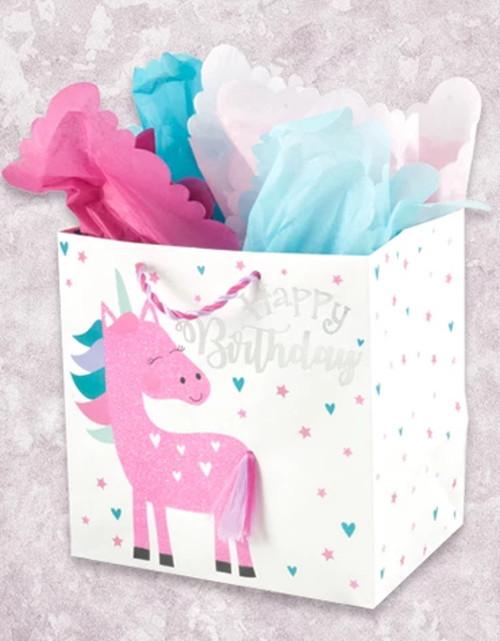Cute Unicorn Happy Birthday Medium Square Gift Bag