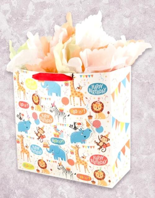 Zoo Birthday Bash Square Jumbo Gift Bag