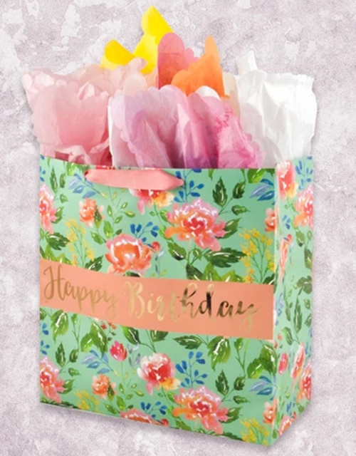 Watercolor Floral Birthday Square Jumbo Gift Bag
