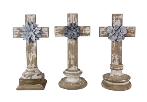 Young's Inc Wood Tabletop 3 Piece Cross and Tin Flowers