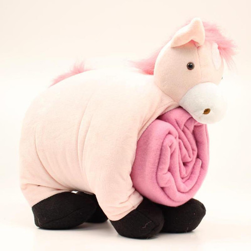 M&F - Pillow Blanket Horse - Pink