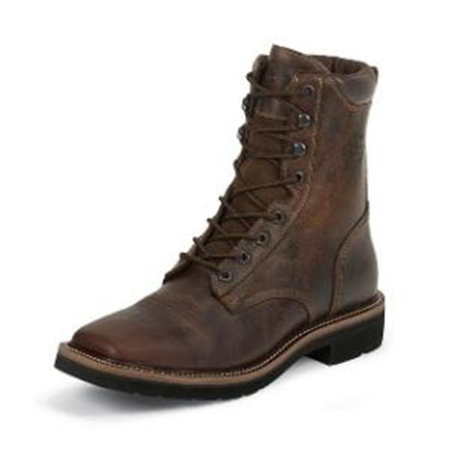 Justin - Men's 8 inch Stampede Lace-Up Boot - Rugged Tan