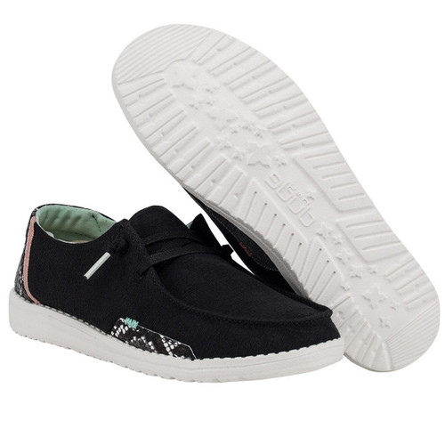 Hey Dude Womens Wendy Black Snake Linen Shoes