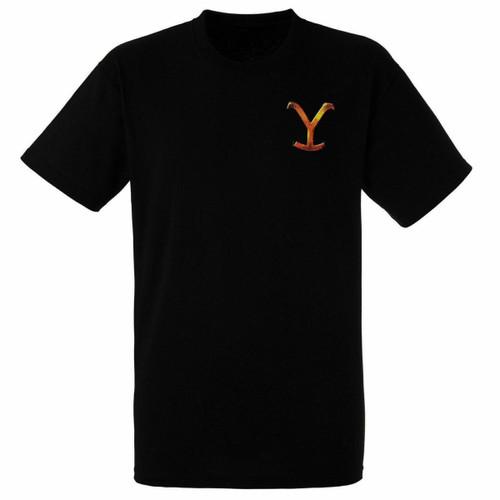 Yellowstone Mens Black Dutton Ranch Brand Short Sleeve T-Shirt