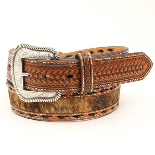 M&F Nocona Mens Brindle Calf Hair Belt