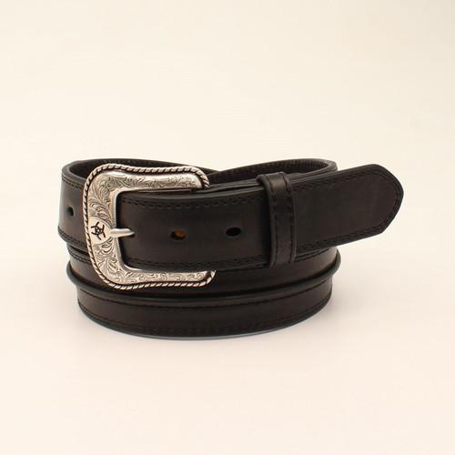 Ariat Mens Black Raised Leather Strip Belt
