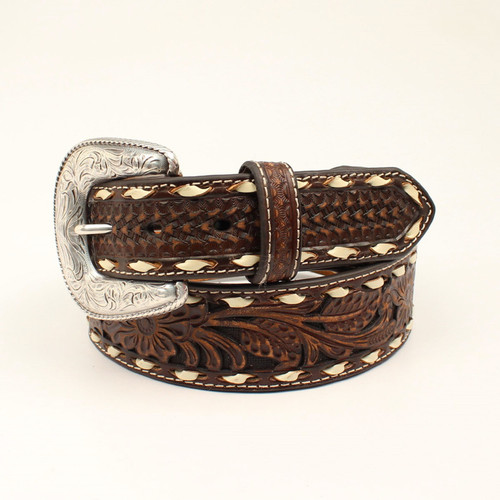 Ariat - Mens Embossed Floral With Contrast Stitching Belt