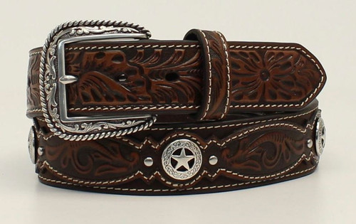 Ariat Mens Floral Embossed With Star Conchos Belt