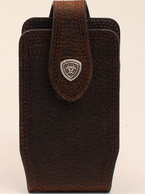 Ariat Brown Cell Phone Case Silver Ariat Signature Logo Concho