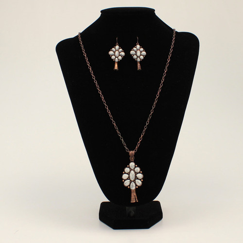 Blazin Roxx Floral Marbled Ivory Stone Necklace Set