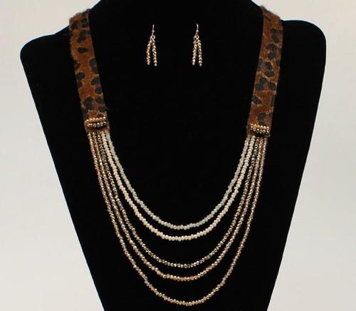 Blazin Roxx Leopard Fur Print Colored Beads Necklace Set