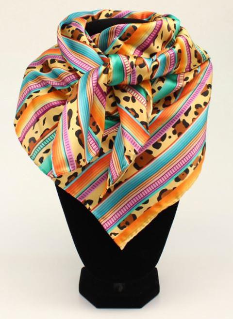 M&F Multi Color Stripes With Leopard Pattern Wild Rag