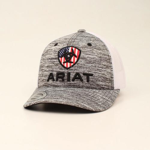 Ariat Boys Youth Grey US Flag Snapback Cap