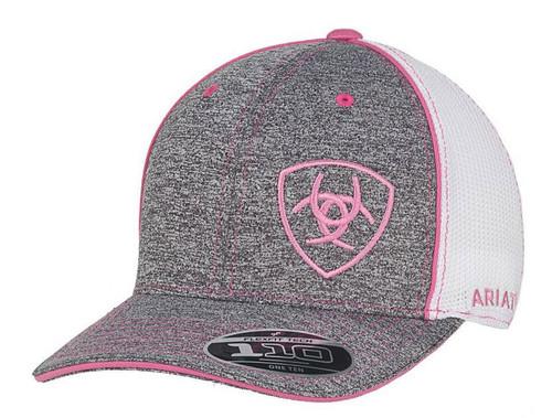 Ariat Womens Grey & Pink 110 FlexFit Ball Cap