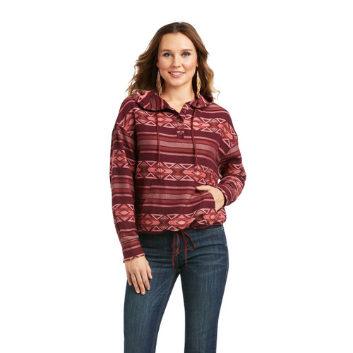 Ariat Womens Mick Windsor Wine Long Sleeve Pullover
