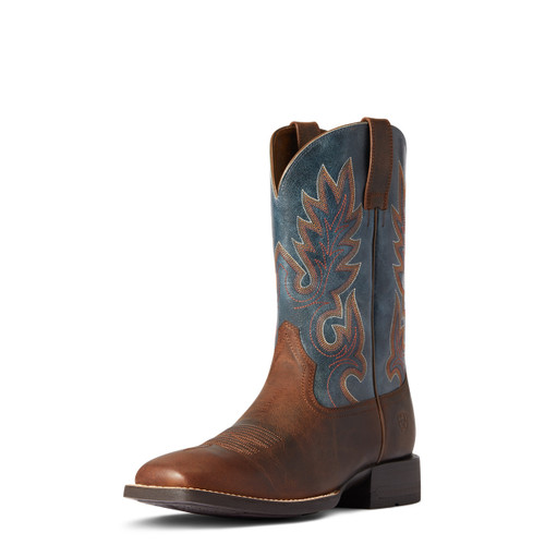 Ariat Mens Shock Shield Layton Weathered Chestnut & Rail Blue Square Toe Boots