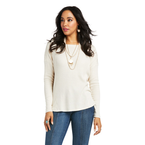 Ariat Womens White Embroidered Hi-Lo Waffle Top