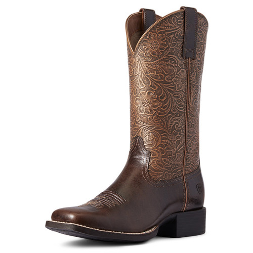 Ariat Womens Round Up Arizona Brown & Copper Floral Embossed Wide Square Toe Boots