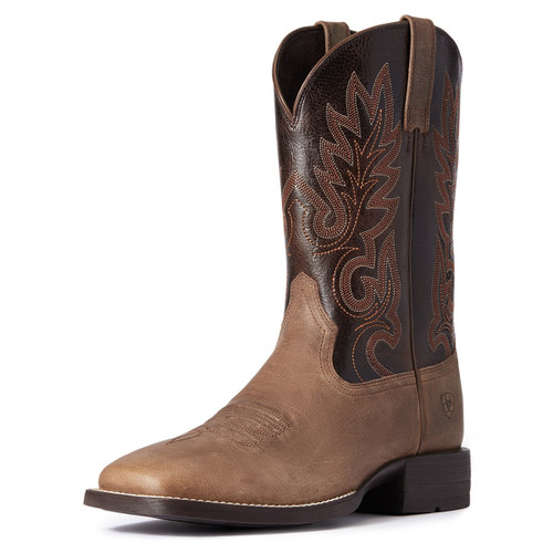 Ariat Mens Shock Shield Layton Authentic Brown & Chocolate Chip Square Toe Boots