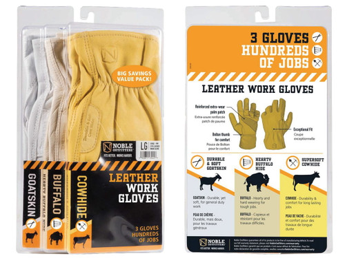 Noble Outfitters Leather Work Gloves - 3 Pack