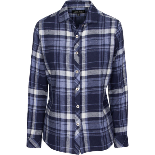 North River Womens Heather Brushed Cotton Button Front Flannel