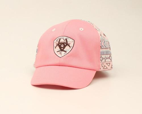 Ariat Girls Infant Light Pink Aztec Ball Cap