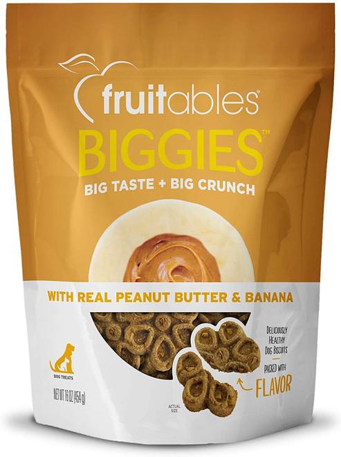 Fruitables Biggies Peanut Butter Banana Crunchy Dog Biscuits- 16oz