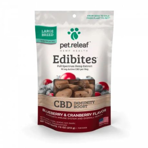 Pet Releaf CBD Blueberry & Cranberry Flavor Immunity Chews for Large Dogs