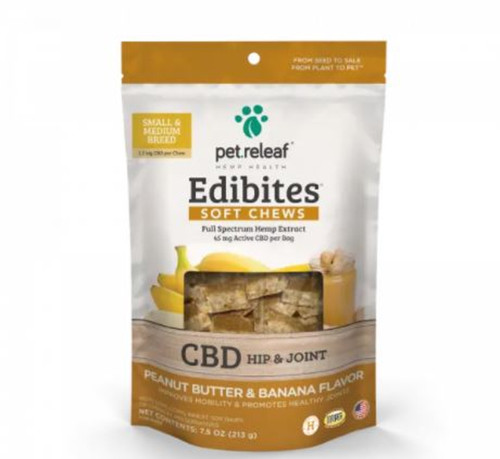 Pet Releaf CBD Peanut Butter & Banana Flavored Hip & Joint Chews for Dogs