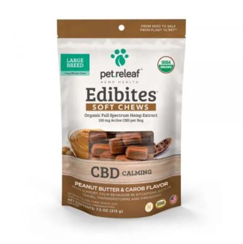 Pet Releaf CBD Calming Peanut Butter & Carob Soft Chews for Large Dogs